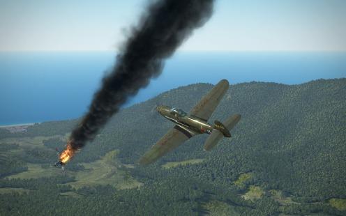 P-39L-1-bf109-fire1
